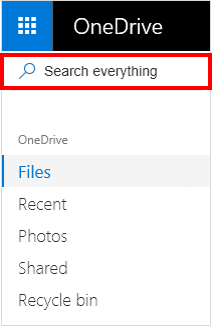 Search everything selection in OneDrive