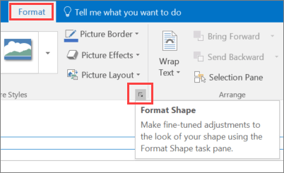 Screen clip of Outlook user interface showing Format tab with Format Shape option selected.