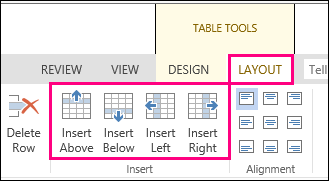 Image of layout options for adding rows and columns in tables