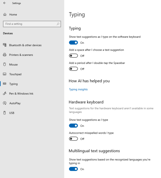The option for text suggestions as you type in Windows