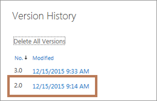 The OneDrive for Business Version History dialog box