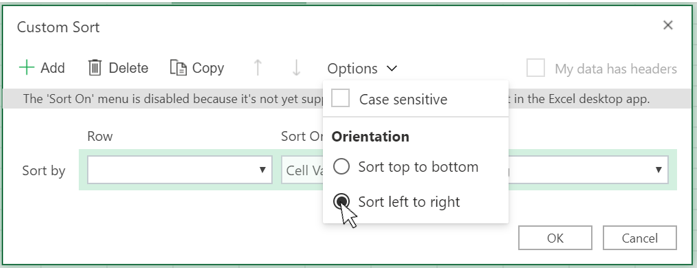 Show how to select Sort left to right option in Custom sort dialog