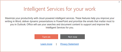 Opt-in dialog box for Office Intelligent Services