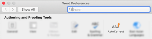 The Authoring and Proofing Tools section of Word preferences, with AutoCorrect highlighted.