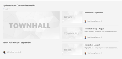 Image of the news web part on the department site template