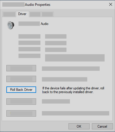 Roll back the audio driver in Device Manager