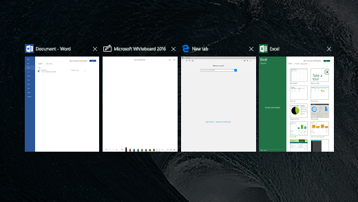 Shows 4 apps in Task View on a Surface Hub.