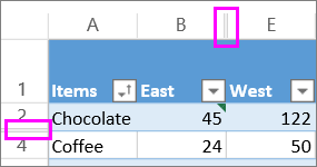 double lines between rows and columns indicate hidden rows or columns