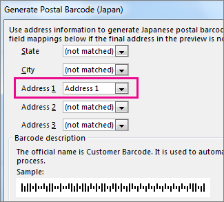 Fields in the Generate Postal Barcode box