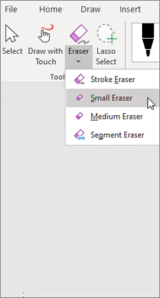 Draw tab with eraser choices and small eraser selected