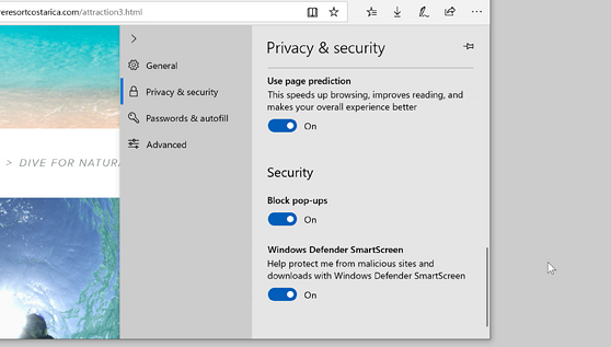 Microsoft Edge settings showing how to block pop-ups