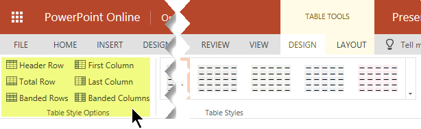 You can add shading styles to certain rows or columns in a table.