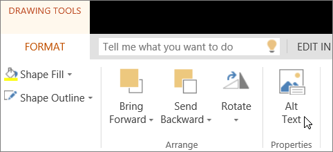 Screenshot shows the Format tab of Drawing Tools with the cursor pointing to the Alt Text option.