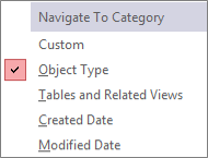 Navigation Pane Navigate To Category Menu