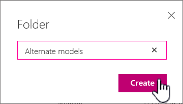 Folder dialog with Create button highlighted