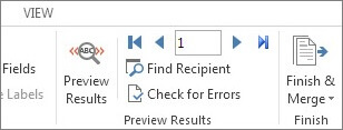 Screenshot of the Mailings tab in Word, showing the Preview Results group.