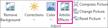 Artistic Effects in the Adjust group found on the Picture Tools tab