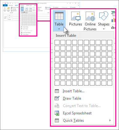 Add a table to a message outlook - How to add a column in a table ...