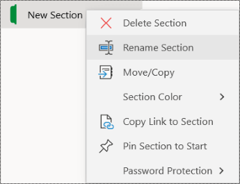 Screenshot of the context menu for renaming a section tab in OneNote for Windows 10.