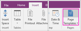 Screenshot of the Page Templates button in OneNote 2016.