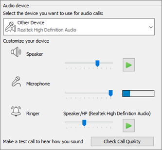 Customized settings--speaker, microphone, ringer--for audio device