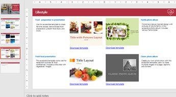 Slide show showing 4 accessible template images, and other slides