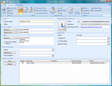business contact manager for outlook account form