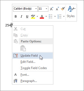 Use fields to insert word count in your document - Word