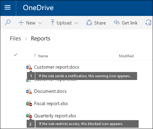 Policy tip icons on documents in a OneDrive account