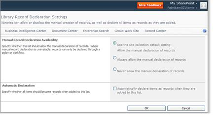 Library Record Declarations Settings page