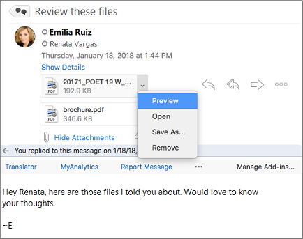 Message in reading pane with attachment preview highlighted