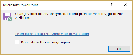 Shows the Synced changes message in PowerPoint