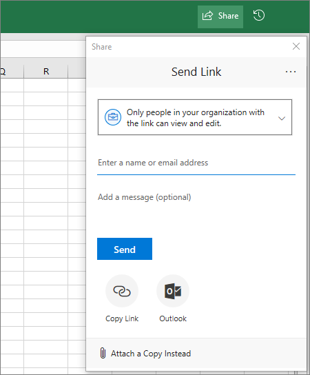 Share icon and dialog box in Excel