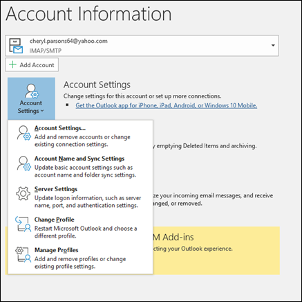 Add an email account using advanced setup - Outlook
