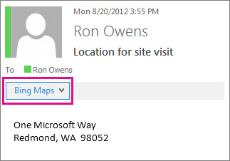 Outlook message showing Bing Maps app