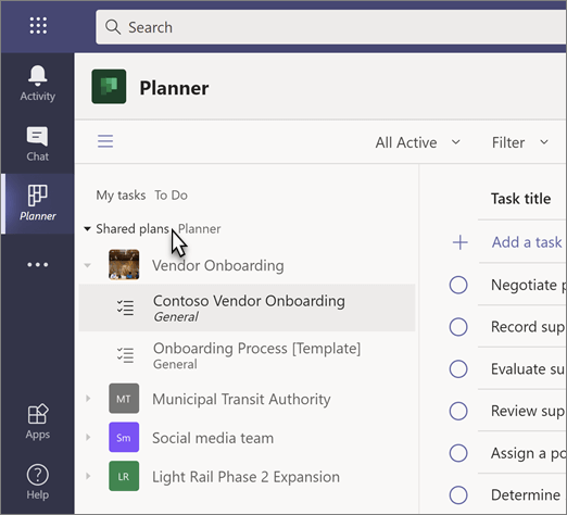 Screenshot of the Tasks app, with mouse pointer on the Shared plans section