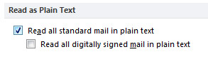 Read all standard mail in plain text check box