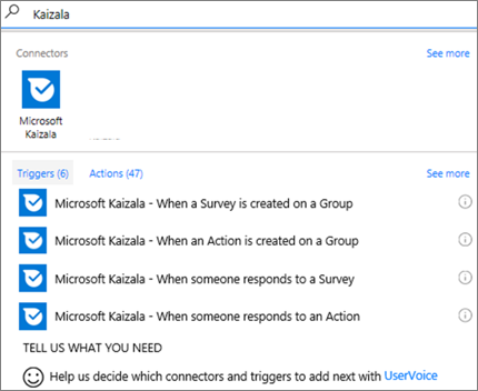 Screenshot: Type Kaizala, and then select Microsoft Kaizala – When someone responds to a survey