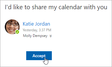 A screenshot of the the Accept button in a Shared calendar email notification.