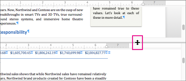 You can split the window to display different parts of the same document, as well as display different views.