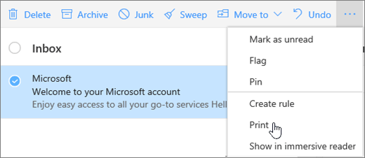 A screenshot shows the Print option selected for an email message.