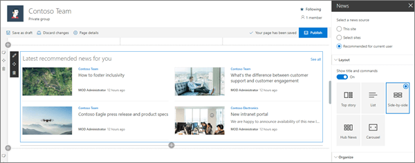 Sample News web part input for modern Team site in SharePoint Online