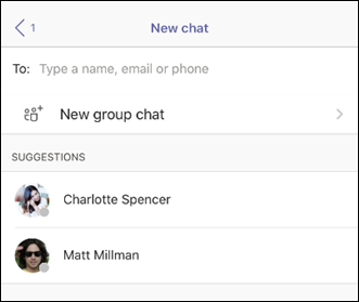 A new group chat in Teams