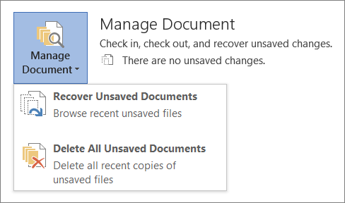 Office 2016 Manage Documents