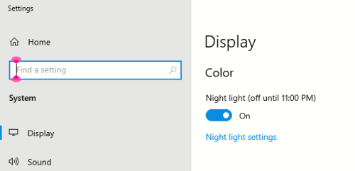 The Windows Night light option selected in the display settings.
