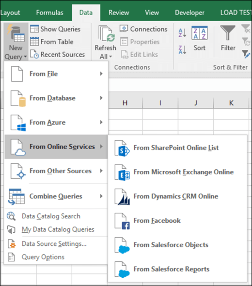 Excel Power BI Online Services connector dialog