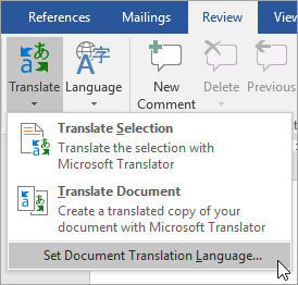 Shows Set Document Translation Language under theTranslate menu