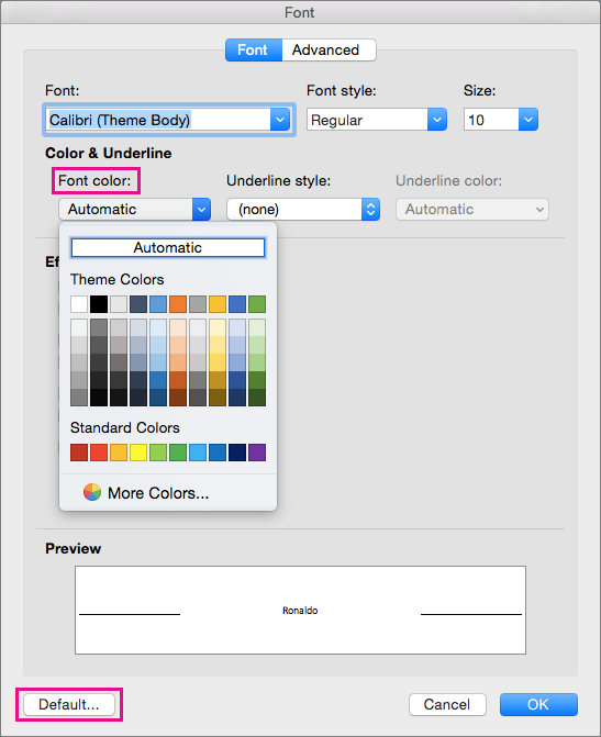 In the Font box, the Font color and Default options are highlighted.