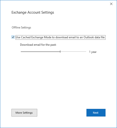 Account setup dialog, Exchange Account Settings page.