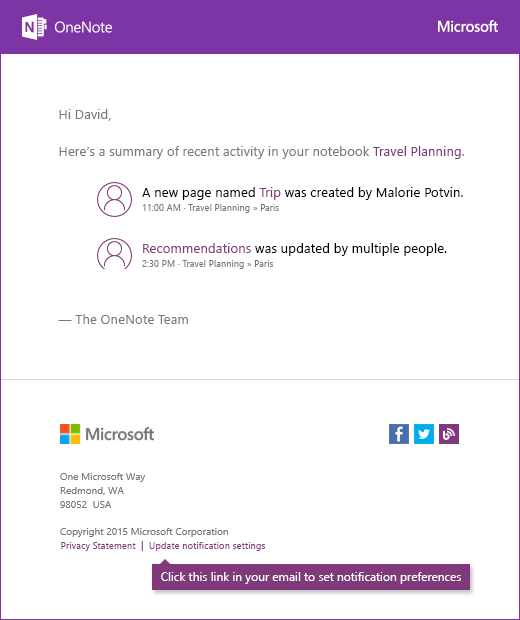 A sample OneNote notification email message